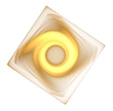 Abstract Yellow Fractal Swirl And Square Stock Image