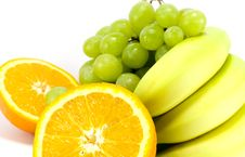 Free Grapes, Bananas And Two Halves Of Orange Stock Image - 4878431