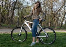 Free Girl And Bicycle Stock Photography - 4880782