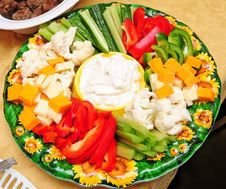 Free Veggies And Cheese Plate 2 Stock Photography - 4880942