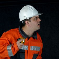Mine Worker Searching Royalty Free Stock Photography