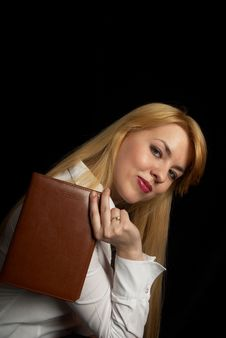 Free Girl With Book On Black Background. Royalty Free Stock Image - 4881476