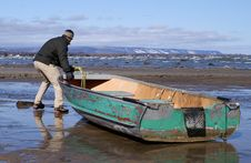 Free Spring Storms Beach A Fishing Boat. Royalty Free Stock Images - 4882829