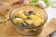 The Casserole From Vegetables With Mushrooms Stock Images