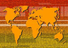 Free Binary World Map In Orange Stock Photo - 4888720