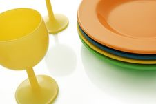 Free Yellow Glasses And Color Ceramics Dishes Stock Image - 4889911