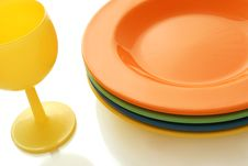 Plates And Wineglass Royalty Free Stock Photos