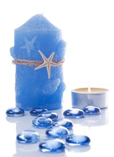Free Candles And Blue Glass  Stones Royalty Free Stock Image - 4889986