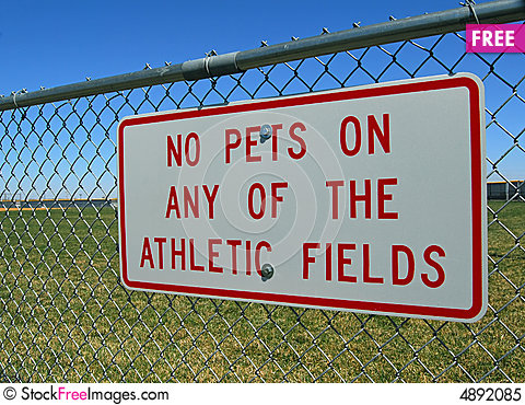 Free Sign On Athletic Field Fence Royalty Free Stock Photo - 4892085