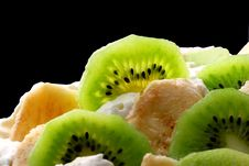 Free Top Layer Of Pavlova Cake With Banana And Kiwi Stock Image - 4891111