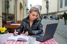 The Student In Cafe Street In Old City Royalty Free Stock Photos