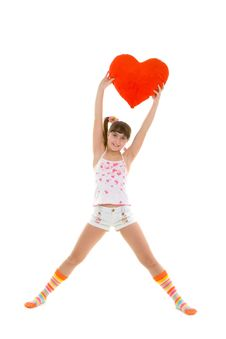 Free Happy Girl Is Jumping With Heart Royalty Free Stock Image - 4893286