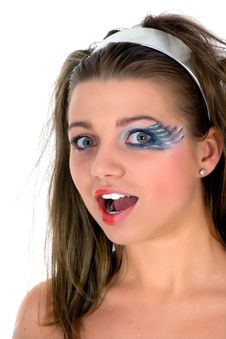 Free Girl With Face-art Butterfly Paint Stock Photo - 4893860