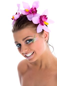 Free Girl With Face-art Butterfly Paint Royalty Free Stock Images - 4893889