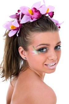 Free Girl With Face-art Butterfly Paint Royalty Free Stock Images - 4893909