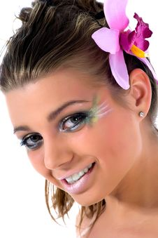 Free Girl With Face-art Butterfly Paint Royalty Free Stock Photos - 4893918