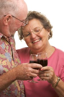 Free Happy Senior Couple Toasting Stock Image - 4894101