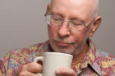 Free Senior Man Enjoys His Coffee Royalty Free Stock Images - 4894169