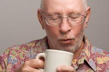 Free Senior Man Enjoys His Coffee Stock Photography - 4894172