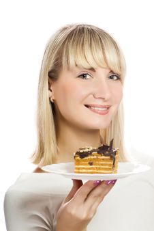 Free Woman With Chocolate Cake Stock Images - 4894664