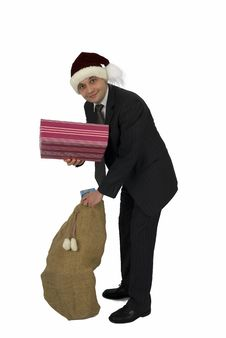 Free Santa Claus In Office. Royalty Free Stock Image - 4894896