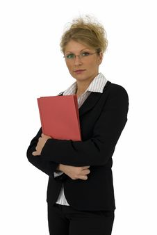 Free Business Woman With Red Folder. Stock Photos - 4894933