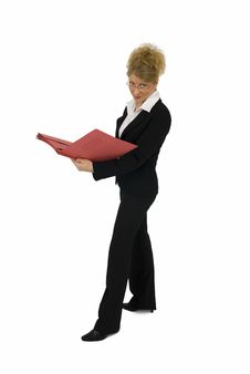 Free Business Woman With Red Folder. Royalty Free Stock Images - 4894959