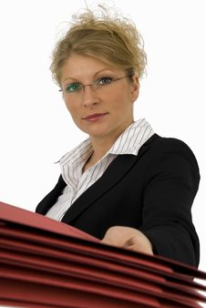 Free Business Woman With Red Folder. Stock Photography - 4894972