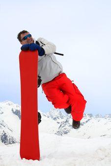 Free Jump Near Snowboard Stock Photography - 4896052
