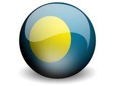 Round Flag Of Palau Stock Photo
