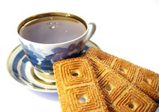 Free Cup Of Tea And Cookies Isolated Stock Image - 4897041