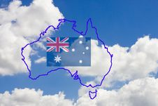 Contour Map And Flag Of Australia With Sky As Back Stock Photo