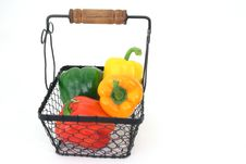 Peppers In A Basket Royalty Free Stock Photos
