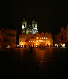 Free Old Town Square By Night Royalty Free Stock Photo - 498145