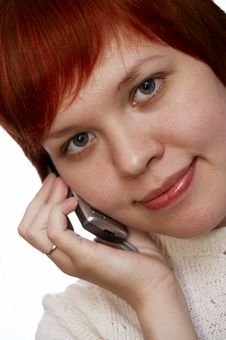 Free Red Haired Girl Cell  Phone Royalty Free Stock Photos - 498718