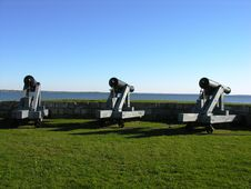 Free Cannons Standing Guard. Stock Photos - 499823