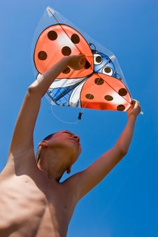 Free Playing The Kite Stock Images - 4901204