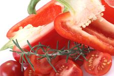 Red Paprika And Tomatoes. Stock Image