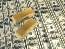 Free Dollars Pyramid Gold Bars Royalty Free Stock Images - 4903549