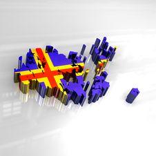 3d Flag Map Of Aaland Stock Photos