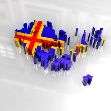 3d Flag Map Of Aaland Royalty Free Stock Image