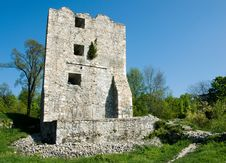 Severin Fortress In Romania, Medieval Tower Ruins Stock Photography