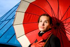 Free Woman With Red Umbrella Stock Image - 4904761