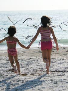 Girls Chasing Birds On The Beach Stock Image