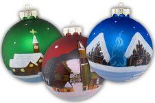 Christmas Balls Hand Painted Royalty Free Stock Photos