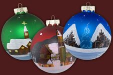 Free Christmas Balls Hand Painted Stock Photo - 4905970
