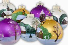 Christmas Balls Hand Painted Royalty Free Stock Photo