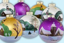 Christmas Balls Hand Painted Stock Photography