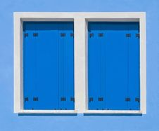Blue Window-shutter Stock Images