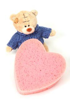 Teddy Bear With Heart Shape Stock Image